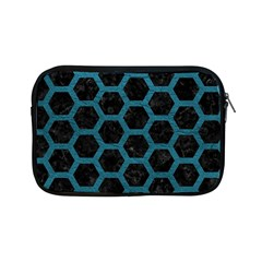 Hexagon2 Black Marble & Teal Leather (r) Apple Ipad Mini Zipper Cases by trendistuff
