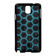 Hexagon2 Black Marble & Teal Leather (r) Samsung Galaxy Note 3 Neo Hardshell Case (black) by trendistuff