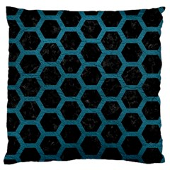 Hexagon2 Black Marble & Teal Leather (r) Standard Flano Cushion Case (one Side) by trendistuff