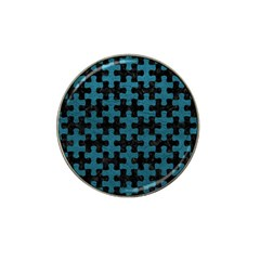 Puzzle1 Black Marble & Teal Leather Hat Clip Ball Marker by trendistuff