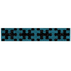 Puzzle1 Black Marble & Teal Leather Large Flano Scarf  by trendistuff