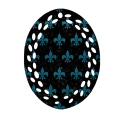 Royal1 Black Marble & Teal Leather Oval Filigree Ornament (two Sides) by trendistuff