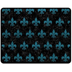 Royal1 Black Marble & Teal Leather Double Sided Fleece Blanket (medium)  by trendistuff
