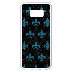Royal1 Black Marble & Teal Leather Samsung Galaxy S8 Plus White Seamless Case