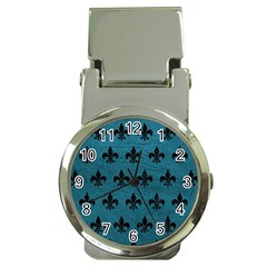 Royal1 Black Marble & Teal Leather (r) Money Clip Watches by trendistuff