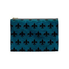 Royal1 Black Marble & Teal Leather (r) Cosmetic Bag (medium)  by trendistuff