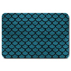 Scales1 Black Marble & Teal Leather Large Doormat  by trendistuff