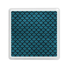 Scales1 Black Marble & Teal Leather Memory Card Reader (square)  by trendistuff