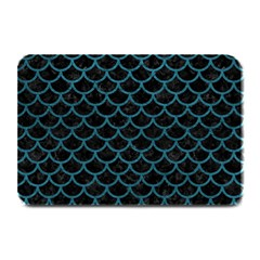 Scales1 Black Marble & Teal Leather (r) Plate Mats by trendistuff