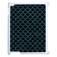 Scales1 Black Marble & Teal Leather (r) Apple Ipad 2 Case (white) by trendistuff