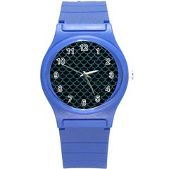 Scales1 Black Marble & Teal Leather (r) Round Plastic Sport Watch (s) by trendistuff