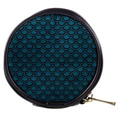 Scales2 Black Marble & Teal Leather Mini Makeup Bags by trendistuff
