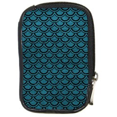 Scales2 Black Marble & Teal Leather Compact Camera Cases by trendistuff
