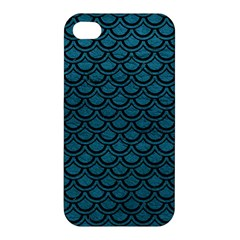 Scales2 Black Marble & Teal Leather Apple Iphone 4/4s Hardshell Case by trendistuff