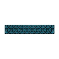 Scales2 Black Marble & Teal Leather Flano Scarf (mini) by trendistuff
