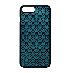 Scales2 Black Marble & Teal Leather Apple Iphone 8 Plus Seamless Case (black)
