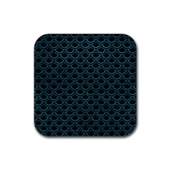 Scales2 Black Marble & Teal Leather (r) Rubber Square Coaster (4 Pack)  by trendistuff