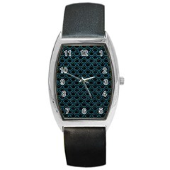 Scales2 Black Marble & Teal Leather (r) Barrel Style Metal Watch by trendistuff
