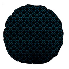 Scales2 Black Marble & Teal Leather (r) Large 18  Premium Round Cushions by trendistuff
