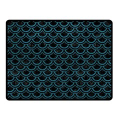 Scales2 Black Marble & Teal Leather (r) Double Sided Fleece Blanket (small)  by trendistuff