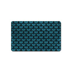 Scales3 Black Marble & Teal Leather Magnet (name Card) by trendistuff
