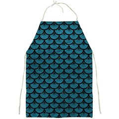 Scales3 Black Marble & Teal Leather Full Print Aprons by trendistuff