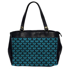 Scales3 Black Marble & Teal Leather Office Handbags (2 Sides)  by trendistuff
