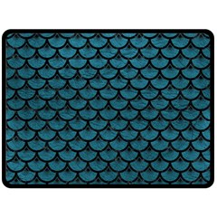Scales3 Black Marble & Teal Leather Double Sided Fleece Blanket (large)  by trendistuff