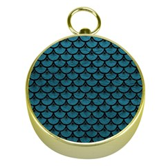 Scales3 Black Marble & Teal Leather Gold Compasses by trendistuff