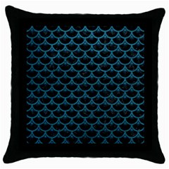 Scales3 Black Marble & Teal Leather (r) Throw Pillow Case (black) by trendistuff