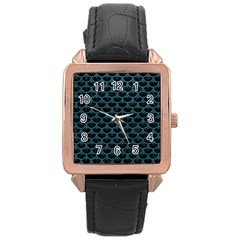 Scales3 Black Marble & Teal Leather (r) Rose Gold Leather Watch  by trendistuff