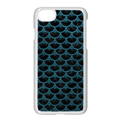 Scales3 Black Marble & Teal Leather (r) Apple Iphone 8 Seamless Case (white)