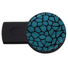 Skin1 Black Marble & Teal Leather (r) Usb Flash Drive Round (4 Gb) by trendistuff
