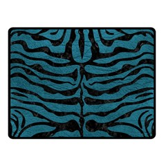 Skin2 Black Marble & Teal Leather Double Sided Fleece Blanket (small)  by trendistuff