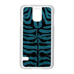 Skin2 Black Marble & Teal Leather Samsung Galaxy S5 Case (white) by trendistuff