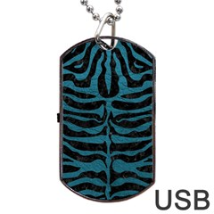 Skin2 Black Marble & Teal Leather (r) Dog Tag Usb Flash (one Side) by trendistuff