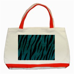Skin3 Black Marble & Teal Leather Classic Tote Bag (red) by trendistuff