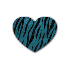 Skin3 Black Marble & Teal Leather Heart Coaster (4 Pack)