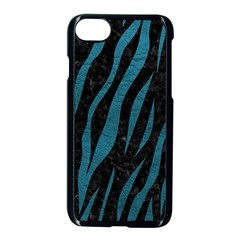 Skin3 Black Marble & Teal Leather (r) Apple Iphone 8 Seamless Case (black)