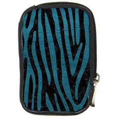 Skin4 Black Marble & Teal Leather Compact Camera Cases by trendistuff