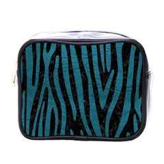 Skin4 Black Marble & Teal Leather Mini Toiletries Bags by trendistuff