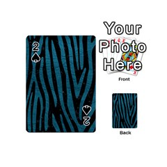 Skin4 Black Marble & Teal Leather Playing Cards 54 (mini)  by trendistuff