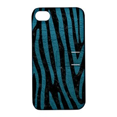 Skin4 Black Marble & Teal Leather Apple Iphone 4/4s Hardshell Case With Stand by trendistuff