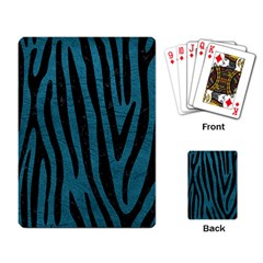 Skin4 Black Marble & Teal Leather (r) Playing Card by trendistuff