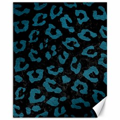 Skin5 Black Marble & Teal Leather Canvas 11  X 14   by trendistuff