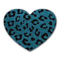 Skin5 Black Marble & Teal Leather (r) Heart Mousepads by trendistuff