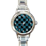 SQUARE1 BLACK MARBLE & TEAL LEATHER Round Italian Charm Watch