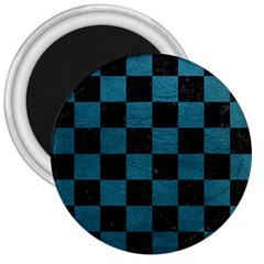 SQUARE1 BLACK MARBLE & TEAL LEATHER 3  Magnets
