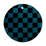 SQUARE1 BLACK MARBLE & TEAL LEATHER Ornament (Round)