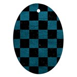 SQUARE1 BLACK MARBLE & TEAL LEATHER Ornament (Oval)